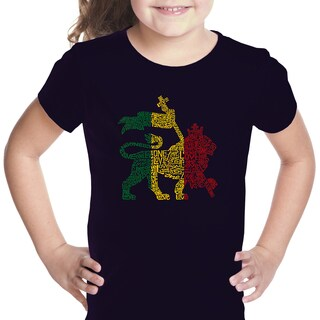 Los Angeles Pop Art Girls' Rasta Lion One Love Multicolor Cotton T-shirt