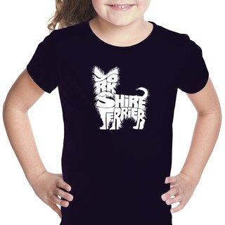 Los Angeles Pop Art Girls' Yorkie Multicolor Cotton T-shirt