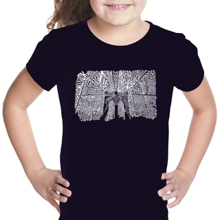 Los Angeles Pop Art Girls' Black Cotton Graphic T-shirt