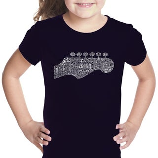 Girls' Guitar Head Cotton Short-sleeve Graphic T-shirt