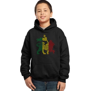Boy's Rasta Lion 'One Love' Black Cotton-blend Hooded Sweatshirt