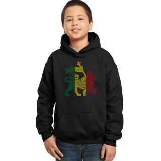 Boy's Rasta Lion 'One Love' Black Cotton-blend Hooded Sweatshirt