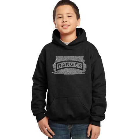 Los Angeles Pop Art Boys' 'U.S. Ranger Creed' Blue/Red/Black Cotton/Polyester Hooded Sweatshirt