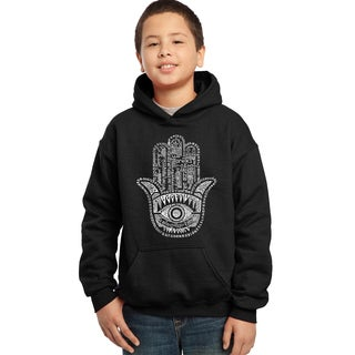 Los Angeles Pop Art Boy's Black Cotton/Polyester Graphic Hooded Sweatshirt
