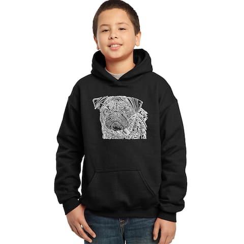 Los Angeles Pop Art Boys' Black Cotton/Polyester Graphic Hooded Sweatshirt