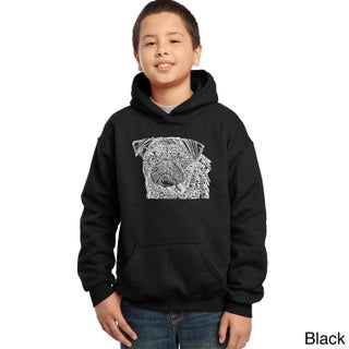 Los Angeles Pop Art Boys' Black Cotton/Polyester Graphic Hooded Sweatshirt (More options available)