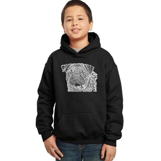Los Angeles Pop Art Boys' Black Cotton/Polyester Graphic Hooded Sweatshirt