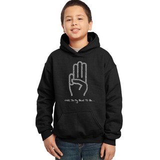 Los Angeles Pop Art Boys' Girl Scout Law Blue/Red/Black Cotton/Polyester Hooded Sweatshirt