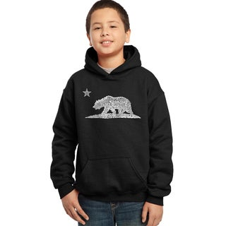 Los Angeles Pop Art Boys' California Bear Cotton/Polyester Hooded Sweatshirt