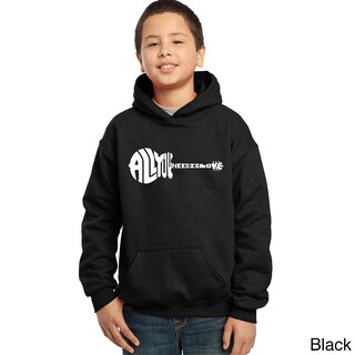 Los Angeles Pop Art Boy's Black Cotton, Polyester Graphic Hooded Sweatshirt (More options available)