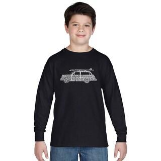 Los Angeles Pop Art Boy's Black Cotton Graphic Long Sleeve T-shirt