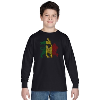Los Angeles Pop Art Boys' Rasta Lion One Love Multicolor Cotton Long Sleeve T-shirt