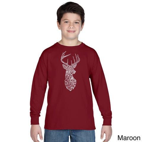 Los Angeles Pop Art Boys' Types of Deer Multicolor Cotton Long Sleeve T-shirt