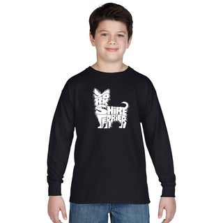 Los Angeles Pop Art Boys' Yorkie Multicolor Cotton Long Sleeve T-shirt