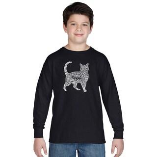 Los Angeles Pop Art Boys' Cat Multicolor Cotton Long Sleeve T-shirt