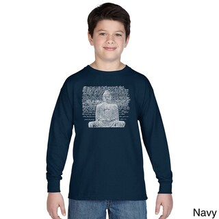 Boy's Zen Buddha Cotton Long-sleeve Crew-eck T-shirt (More options available)
