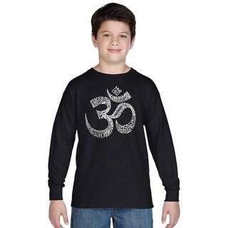 Boy's Poses OM Long Sleeve Black Cotton T-Shirt