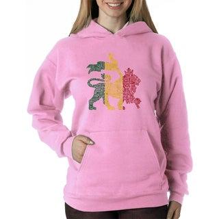 Women's 'One Love' Rasta Lion Polyester Hooded Sweatshirt