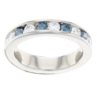Women's 14k White Gold Ring with Blue and White Diamonds 1.0 ctw
