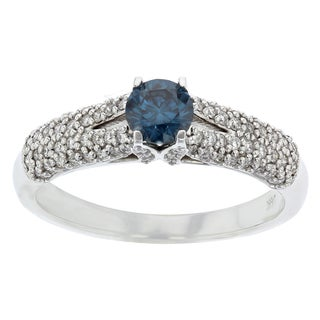 Women's 14kw Gold Ring, Blue Diamond Center Stone Accented with White Diamonds