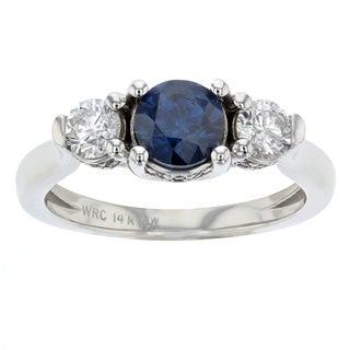 Women's 14k White Gold Blue and White Diamond Three Stone Ring