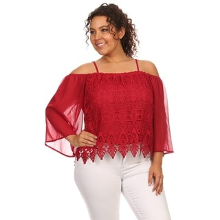 Hadari Plus size lace off shoulder 3/4 sleeve top