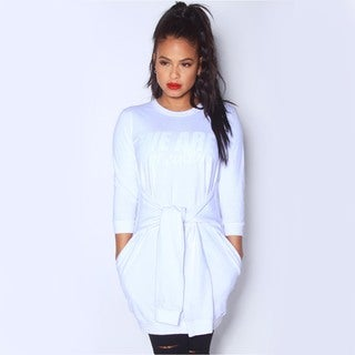 We Are Pop Culture Whip White Sweater Dress