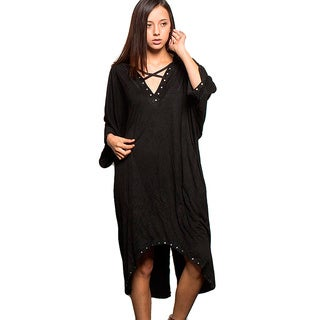 Honey Comfy's Women's Black Cotton Metallic Studded Dress