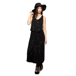 Kate Marie's Womens' Black Cotton Sleeveless Maxi Dress