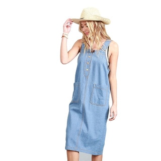 Kate Marie Women's Blue Cotton Overall Strap Denim Dress With Front Pockets and Button-up Detail