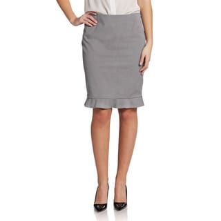 Elie Tahari Women's Ruth Grey Polyester Pencil Skirt With Ruffled Hemline