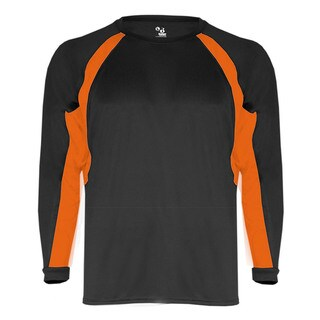 Boys' Black/Burnt Orange Polyester Hook Long Sleeve Tee