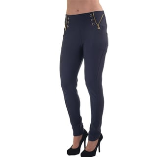 Women's Black Polyester/Spandex Scuba Skinny Stretch High-waist Zip-up Pants with Front and Back Pockets