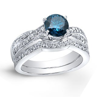 Auriya Platinum 1ct TDW Round-Cut Blue Diamond Bridal Ring Set (Blue)