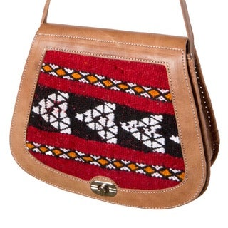 Leather & Kilim Crossbody Handbag