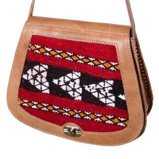 Handmade Leather & Kilim Crossbody Handbag (Morocco)