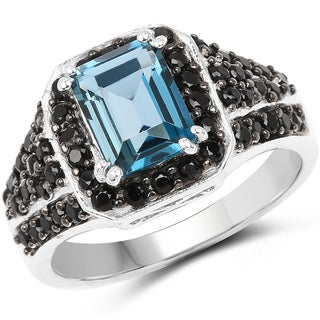 Malaika 0.925 White Sterling Silver 2.95-carat Genuine London Blue Topaz and Black Spinel Ring