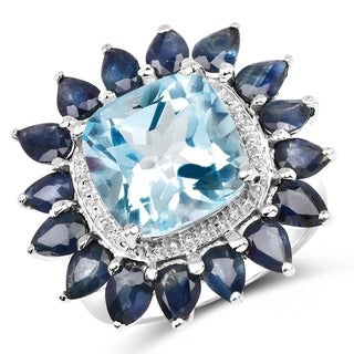 Malaika 0.925 White Sterling Silver 7.65-carat Genuine Blue Topaz Blue Sapphire Ring