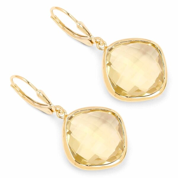 Malaika Yellow Gold Plated 925 Sterling Silver 21 40k Genuine Lemon Quartz Earrings