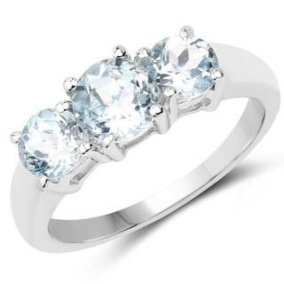Malaika 2.15-carat Genuine Blue Topaz .925 Sterling Silver Ring