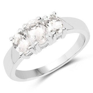 Malaika .925 White Sterling Silver 1.13-carat Genuine Crystal Quartz Ring