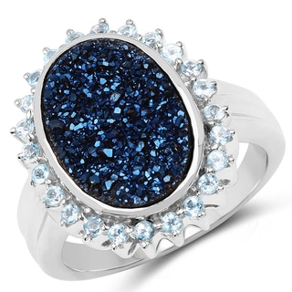 Malaika .925 Sterling Silver 4.58 Carat Genuine Blue Drusy and Swiss Blue Topaz Ring