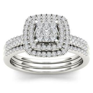 De Couer 14k White Gold 1/2ct TDW Diamond Cluster Bridal Set - White H-I