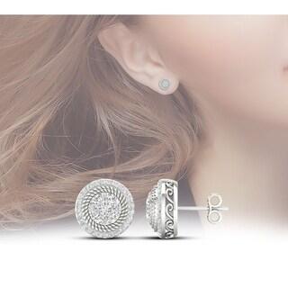 De Couer 10k White Gold 5/8ct TDW Diamond Halo Frame Cluster Stud Earrings (H-I,I2)