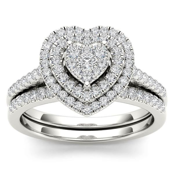 De Couer 14k White Gold 1/2ct TDW Diamond Cluster Heart-Shaped Frame Bridal Set. Opens flyout.