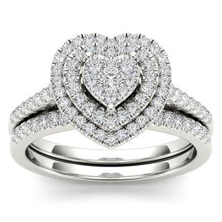 De Couer 14k White Gold 1 2ct TDW Diamond Cluster Heart Shaped Frame Bridal Set White H I