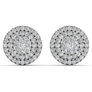 De Couer 10k White Gold 1/2ct TDW Diamond Cluster Double Frame Stud Earrings - White H-I