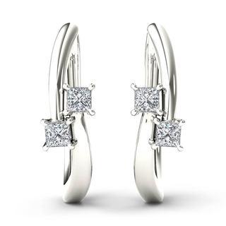De Couer 10k White Gold 1/3ct TDW Diamond Two-Stone Hoop Earrings (H-I,I2)