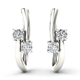 De Couer 10k White Gold 1/3ct TDW Diamond Two-Stone Diamond Hoop Earrings