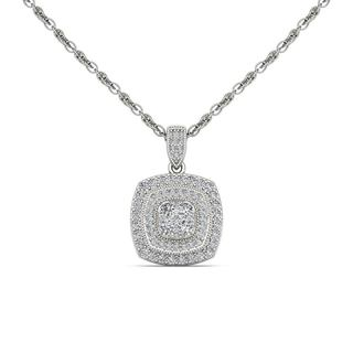 De Couer 14K White Gold 1/2ct TDW Diamond Halo Necklace - White H-I